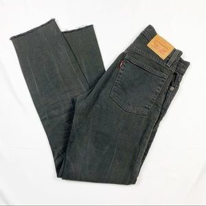 Levi's Whiskered Raw Hem High Rise Ankle Jeans